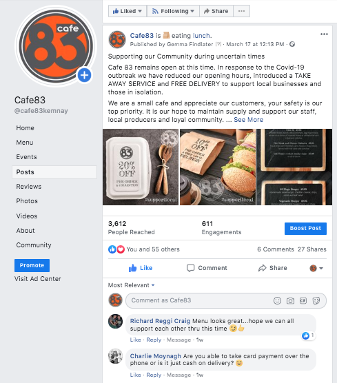 Screengrab of Cafe83 Facebook Page and the post created to promote local discounted services during the Coronavirus Outbreak.